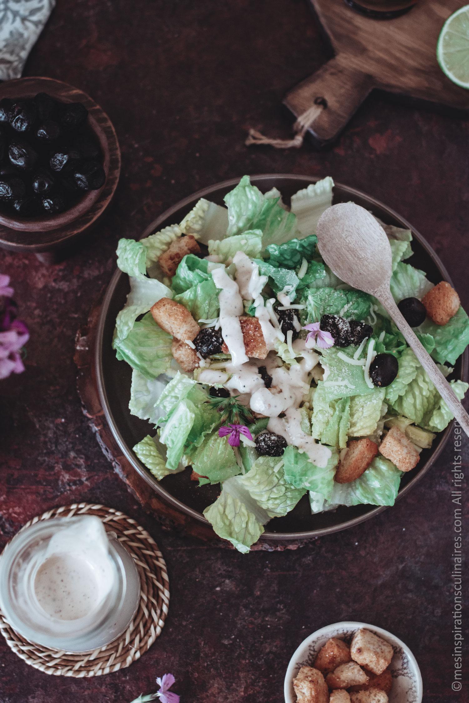 salade caesar et sauce au yaourt