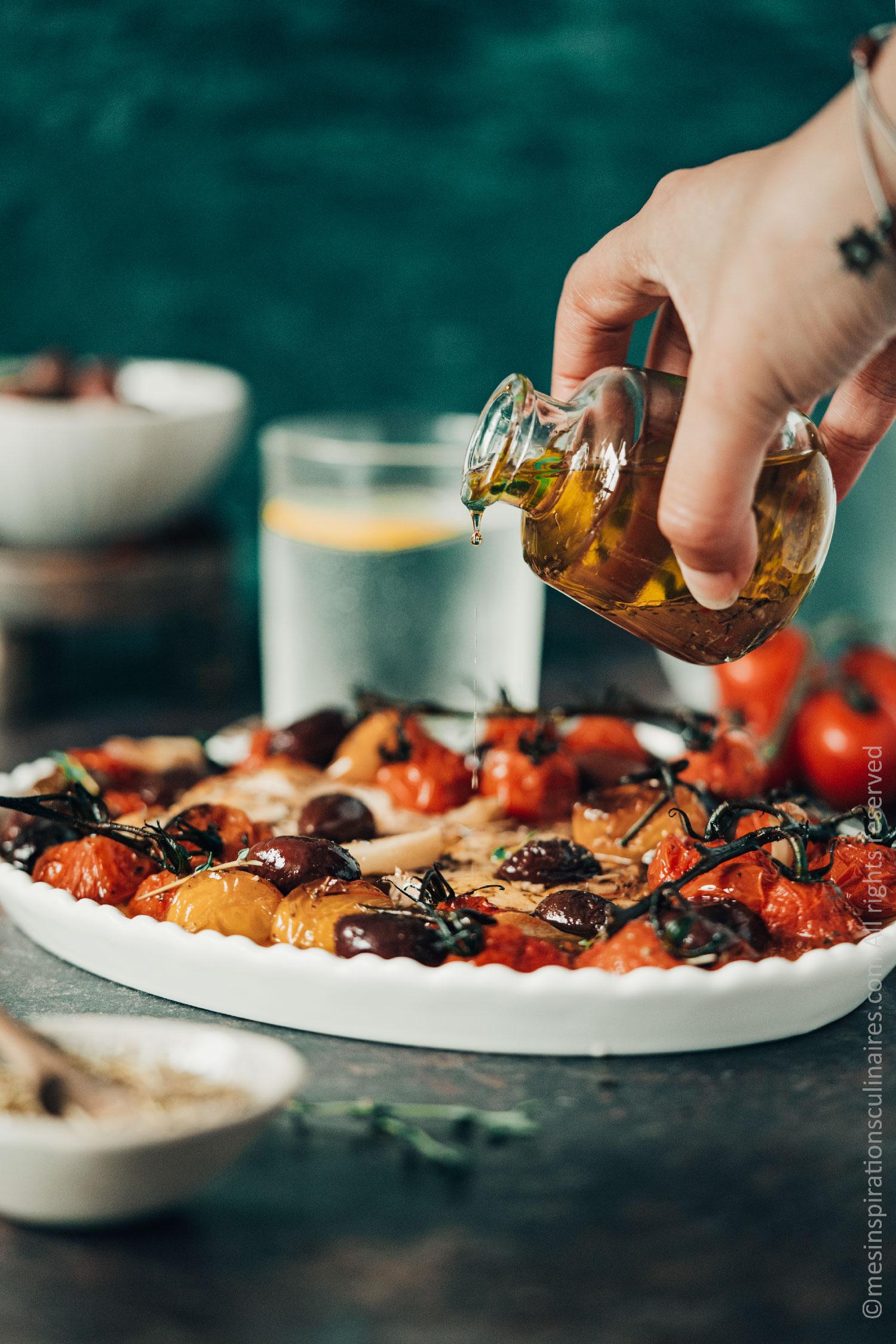 feta rôtie aux tomates confites et olive kalamata