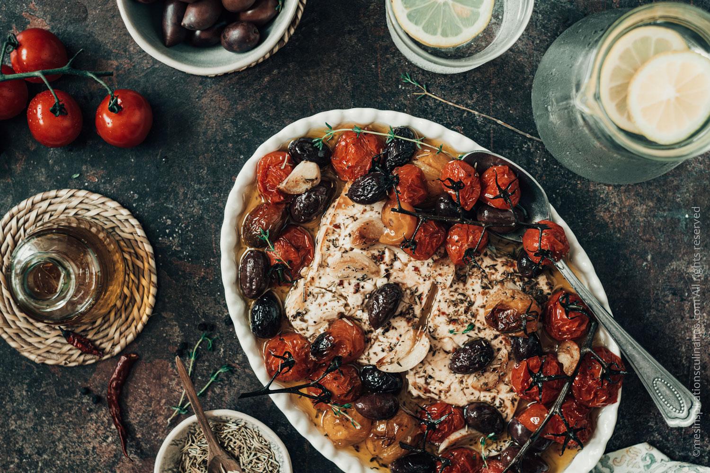 Tomates cerises confites, feta rôtie au four