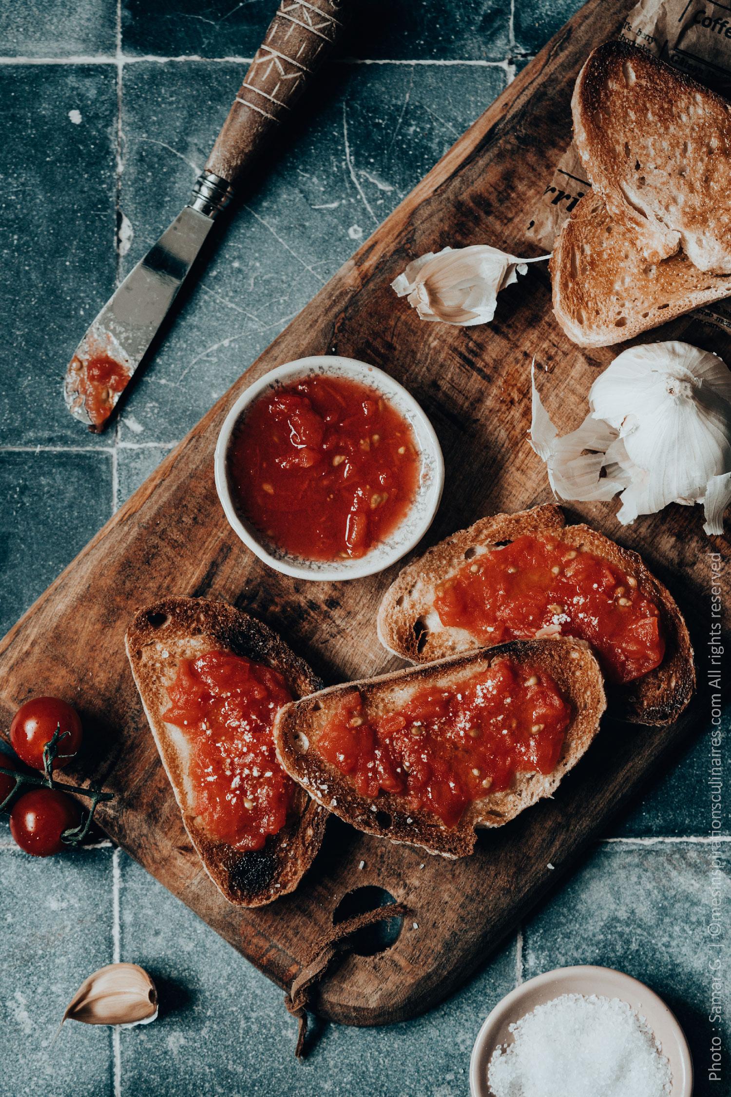 Pan con aux tomates, recette Catalane (idée Tapas)