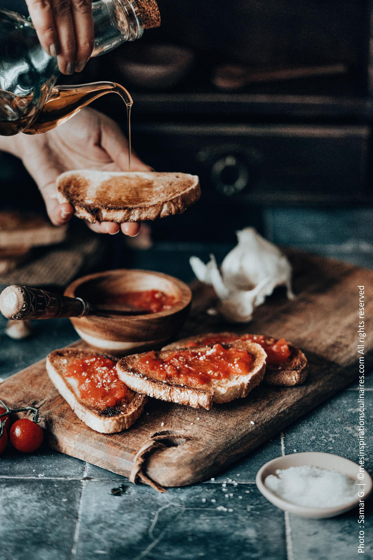 pain aux tomates ail et huile d'olive