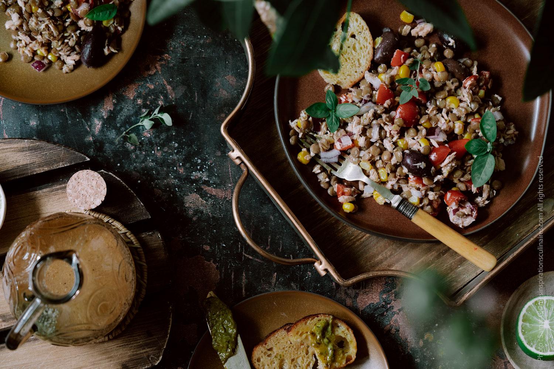 Salade de lentilles vertes au thon et tomates