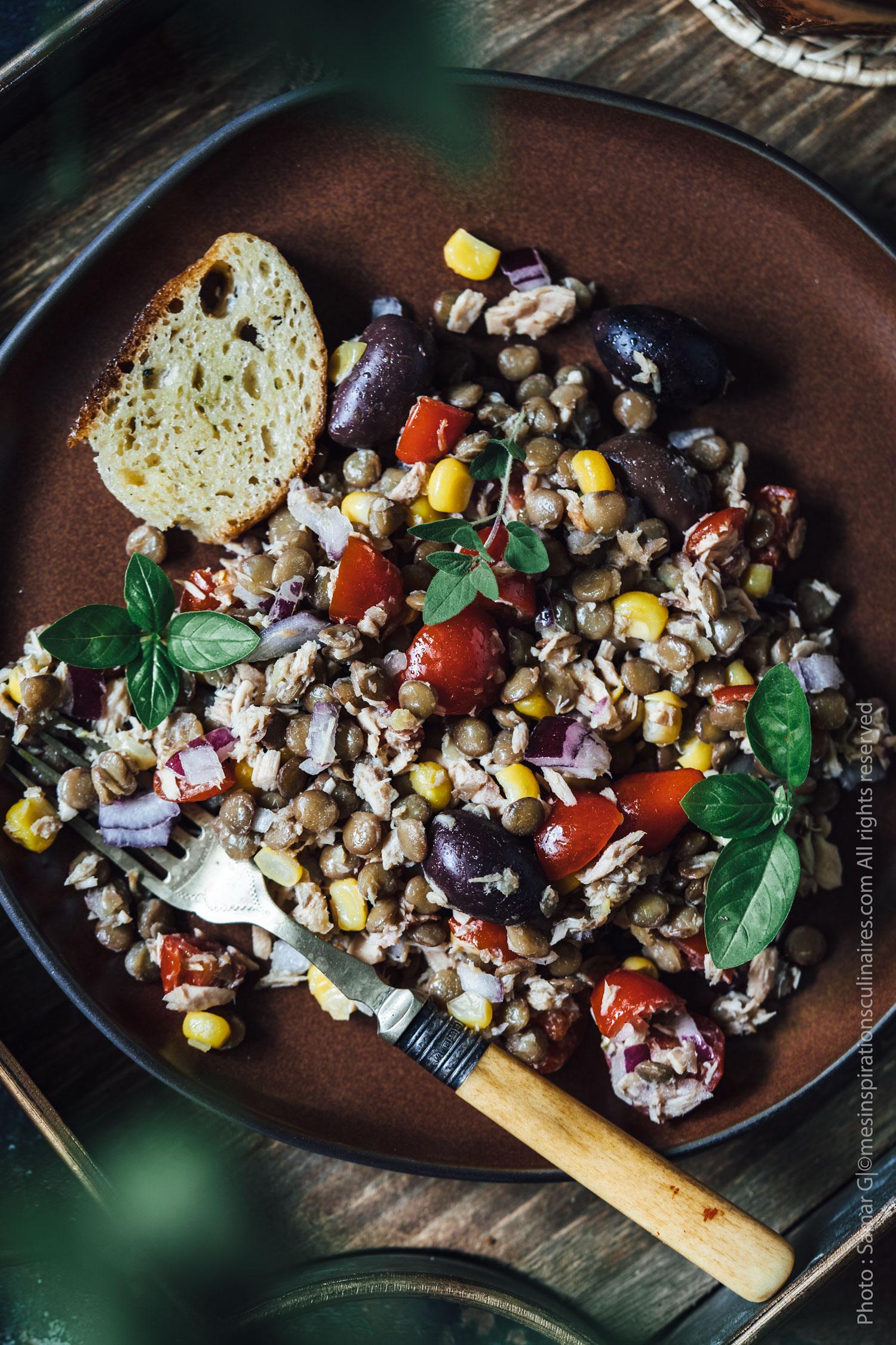 Salade de lentilles au thon et tomates