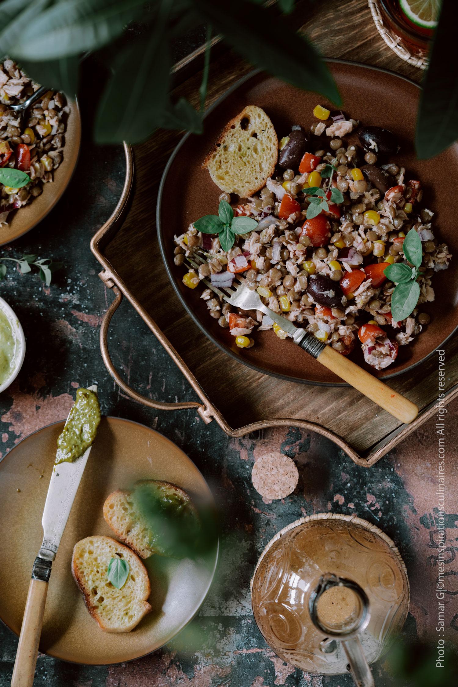 recette de salade de thon aux lentilles vertes