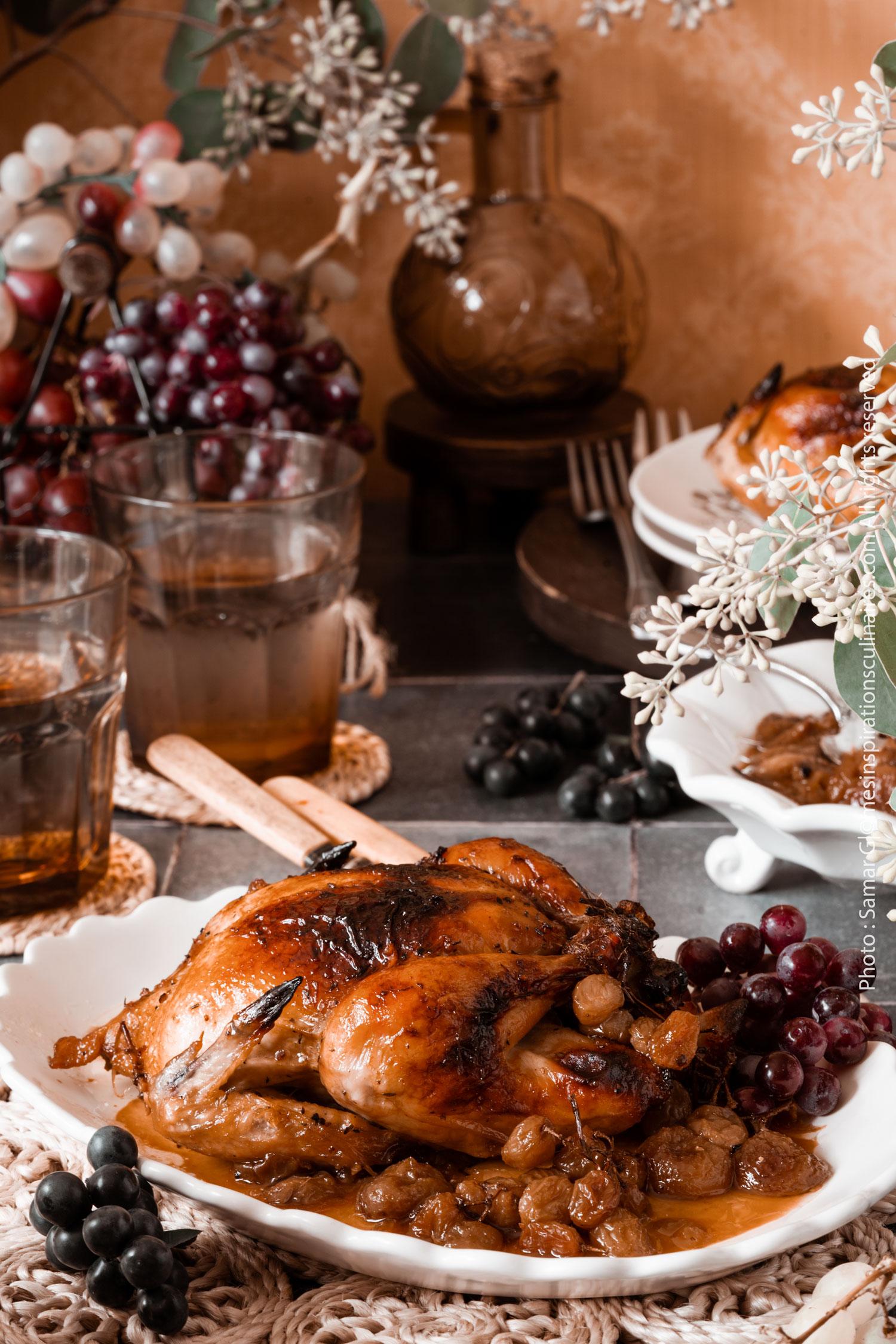 recette Poule de Cornouailles rôti aux raisins et miel